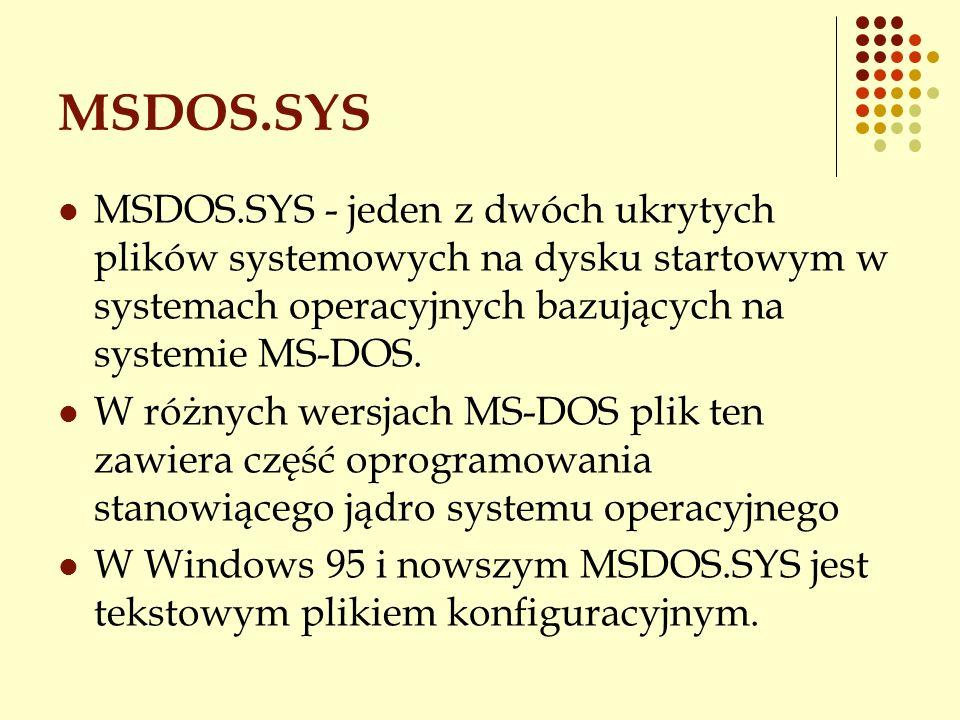 MSDOS.SYS MSDOS.SYS - jeden z dwóch ukrytych plików systemowych na dysku startowym w systemach operacyjnych bazujących na systemie MS-DOS. W różnych w