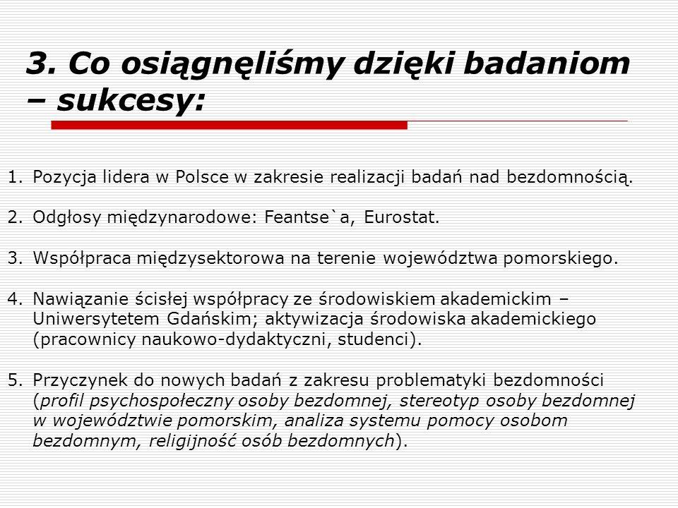 3. Co osiągnęliśmy dzięki badaniom – sukcesy: 1.Pozycja lidera w Polsce w zakresie realizacji badań nad bezdomnością. 2.Odgłosy międzynarodowe: Feants