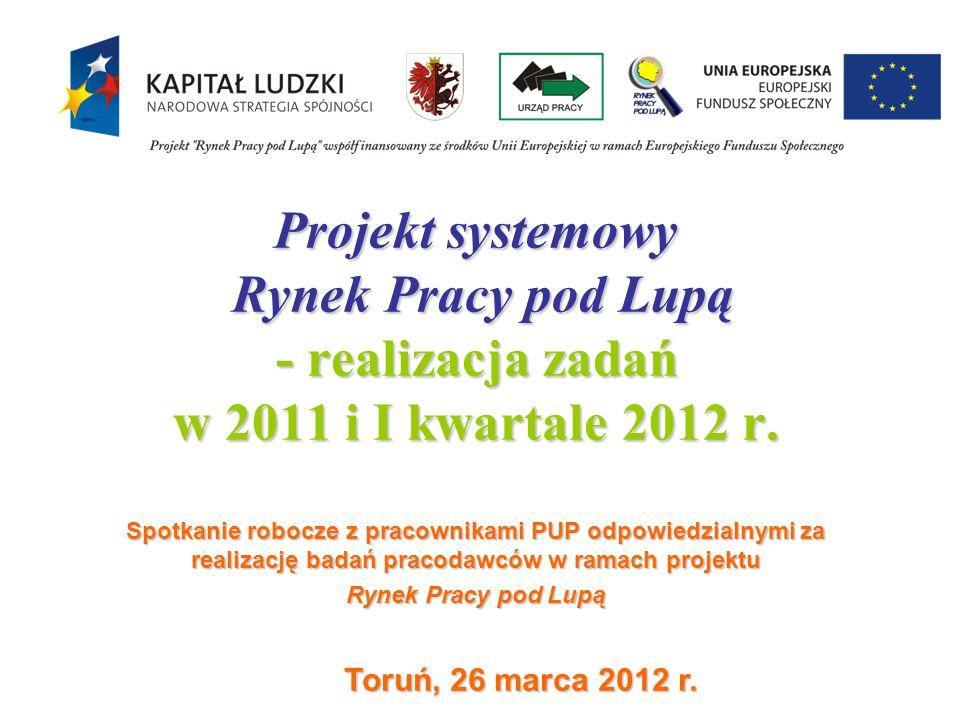 Projekt systemowy Rynek Pracy pod Lupą - realizacja zadań w 2011 i I kwartale 2012 r. Spotkanie robocze z pracownikami PUP odpowiedzialnymi za realiza