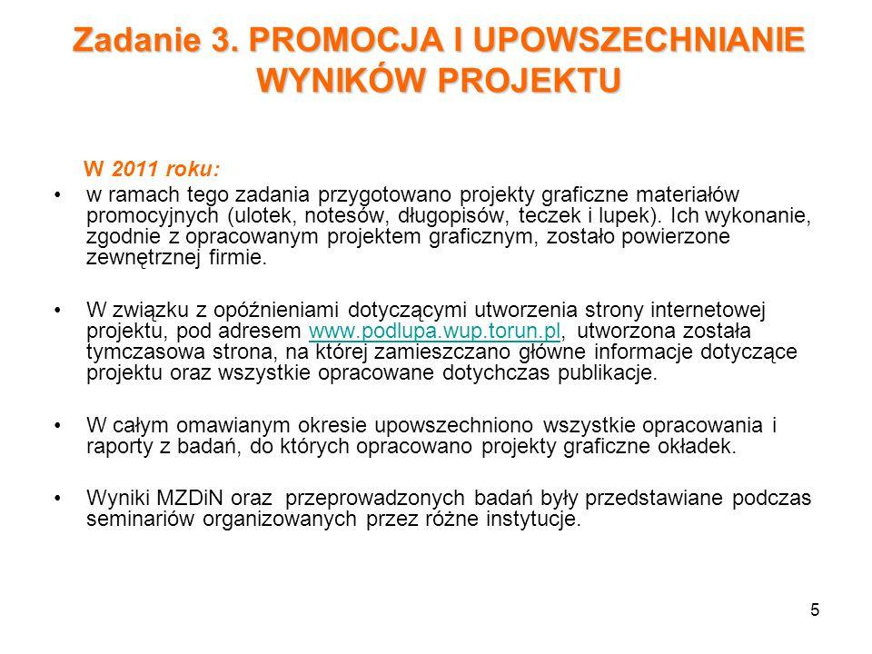 5 Zadanie 3. PROMOCJA I UPOWSZECHNIANIE WYNIKÓW PROJEKTU W 2011 roku: w ramach tego zadania przygotowano projekty graficzne materiałów promocyjnych (u