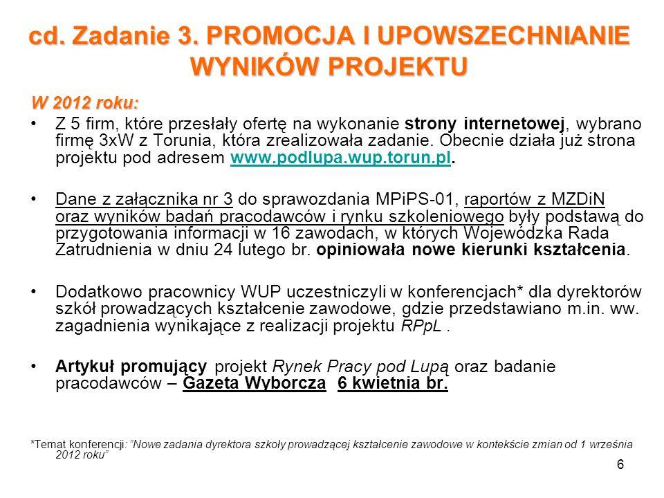 6 W 2012 roku: Z 5 firm, które przesłały ofertę na wykonanie strony internetowej, wybrano firmę 3xW z Torunia, która zrealizowała zadanie. Obecnie dzi