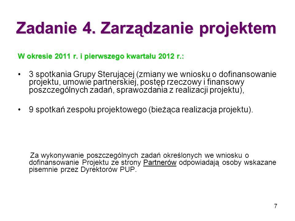 7 Zadanie 4. Zarządzanie projektem W okresie 2011 r. i pierwszego kwartału 2012 r.: 3 spotkania Grupy Sterującej (zmiany we wniosku o dofinansowanie p