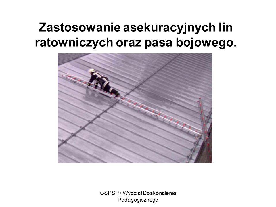 CSPSP / Wydział Doskonalenia Pedagogicznego Zastosowanie asekuracyjnych lin ratowniczych oraz pasa bojowego.