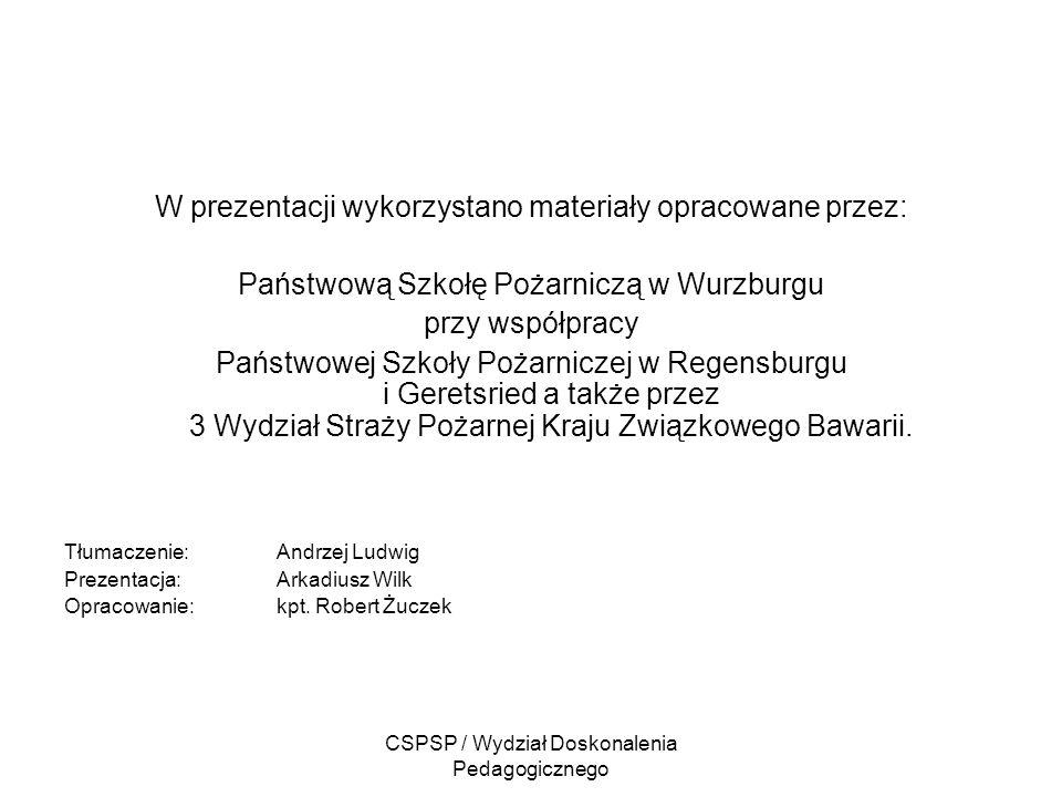CSPSP / Wydział Doskonalenia Pedagogicznego W prezentacji wykorzystano materiały opracowane przez: Państwową Szkołę Pożarniczą w Wurzburgu przy współp