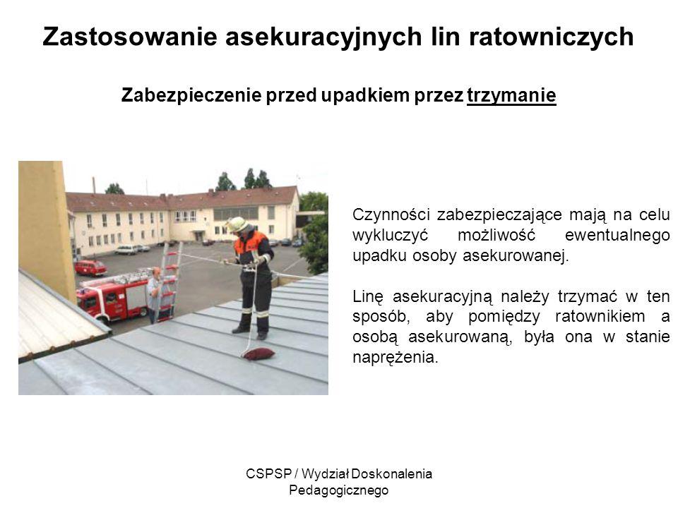 CSPSP / Wydział Doskonalenia Pedagogicznego Zastosowanie asekuracyjnych lin ratowniczych Zabezpieczenie przed upadkiem przez trzymanie Czynności zabez