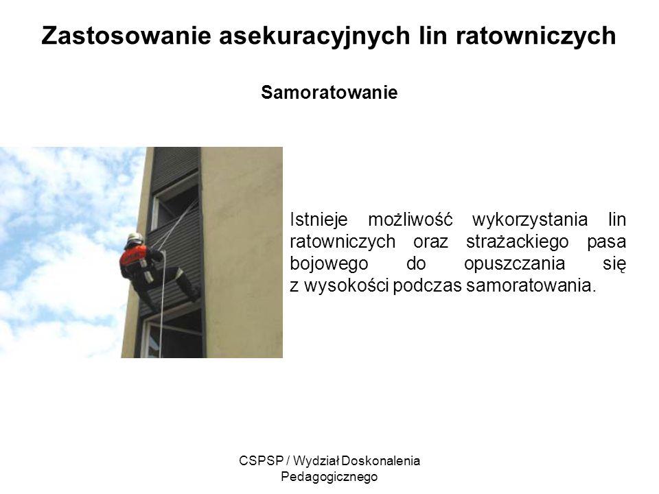 CSPSP / Wydział Doskonalenia Pedagogicznego Zastosowanie asekuracyjnych lin ratowniczych Samoratowanie Istnieje możliwość wykorzystania lin ratowniczy