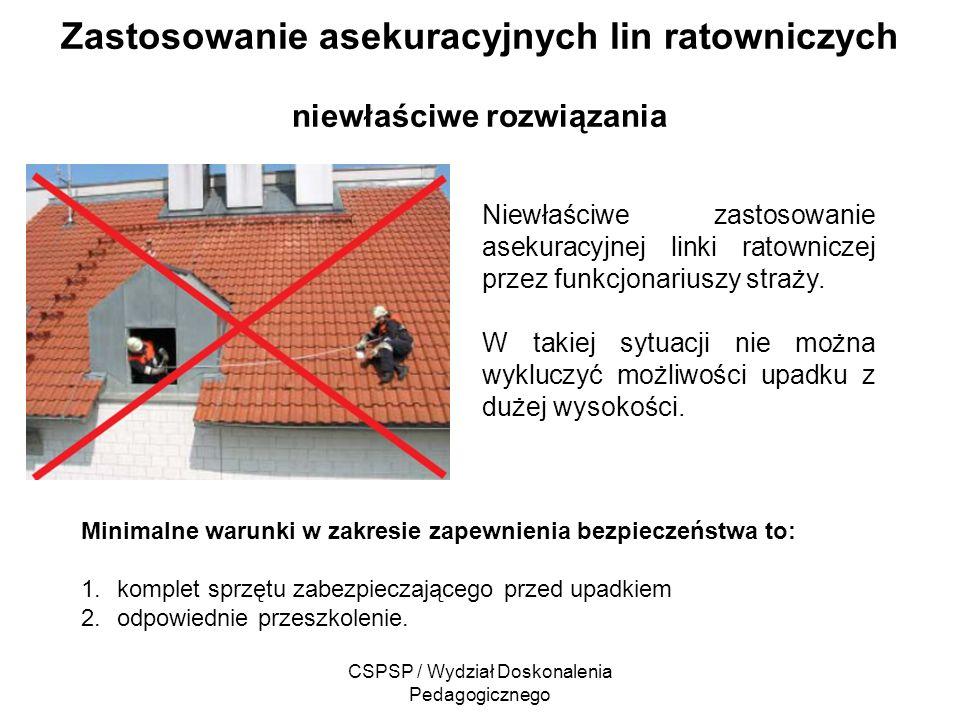 CSPSP / Wydział Doskonalenia Pedagogicznego Zastosowanie asekuracyjnych lin ratowniczych niewłaściwe rozwiązania Niewłaściwe zastosowanie asekuracyjne
