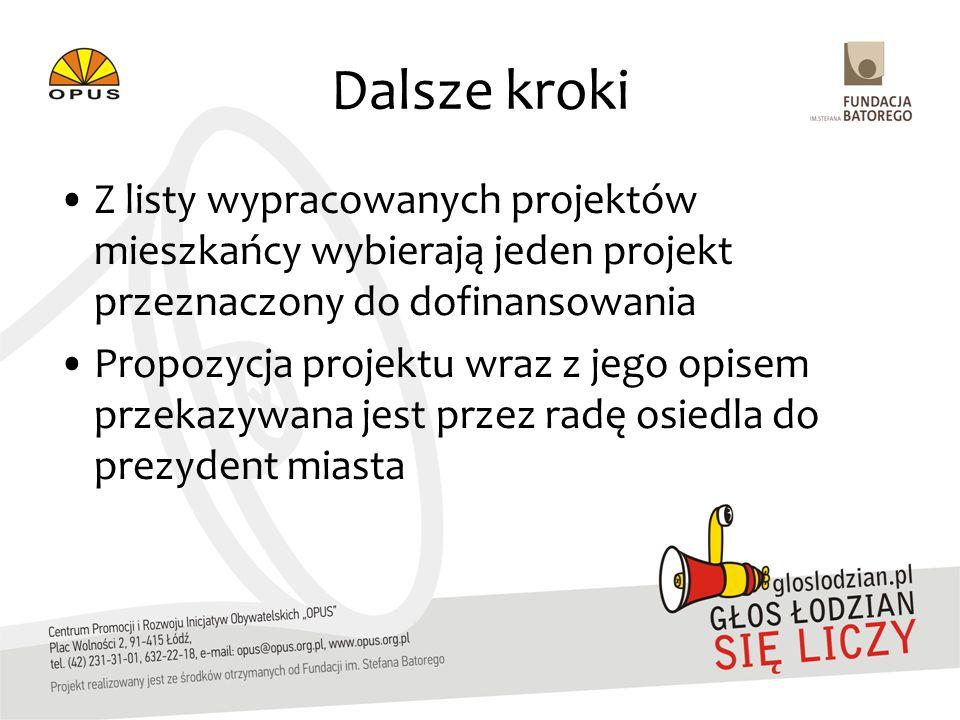Dalsze kroki Z listy wypracowanych projektów mieszkańcy wybierają jeden projekt przeznaczony do dofinansowania Propozycja projektu wraz z jego opisem