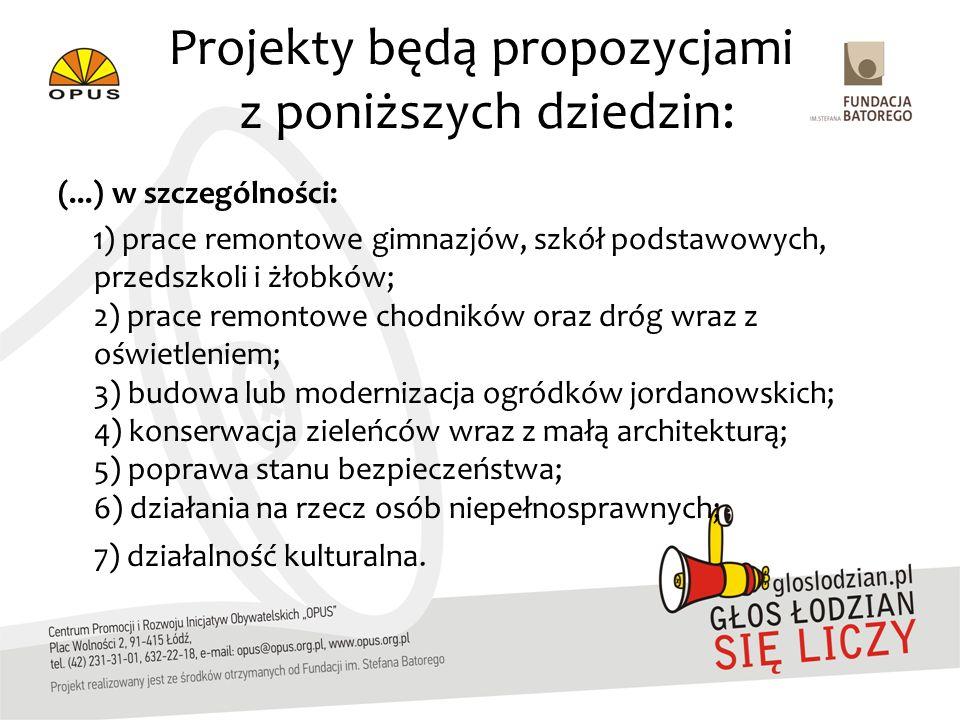 Projekty będą propozycjami z poniższych dziedzin: (...) w szczególności: 1) prace remontowe gimnazjów, szkół podstawowych, przedszkoli i żłobków; 2) prace remontowe chodników oraz dróg wraz z oświetleniem; 3) budowa lub modernizacja ogródków jordanowskich; 4) konserwacja zieleńców wraz z małą architekturą; 5) poprawa stanu bezpieczeństwa; 6) działania na rzecz osób niepełnosprawnych; 7) działalność kulturalna.