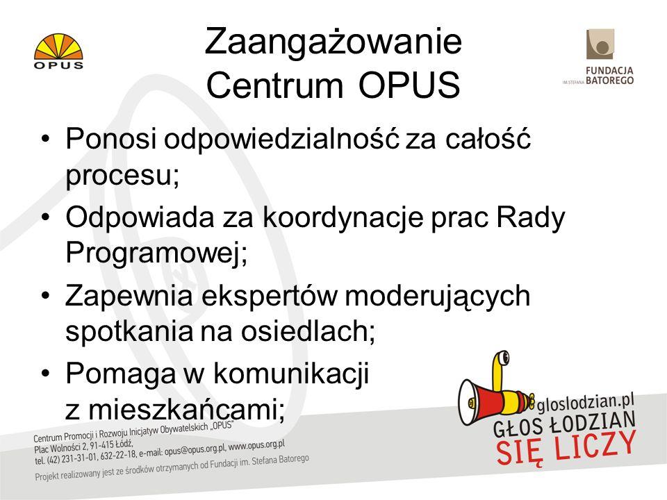 Zaangażowanie Centrum OPUS Ponosi odpowiedzialność za całość procesu; Odpowiada za koordynacje prac Rady Programowej; Zapewnia ekspertów moderujących spotkania na osiedlach; Pomaga w komunikacji z mieszkańcami;