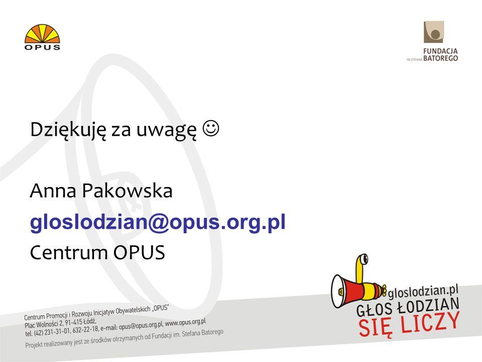 Dziękuję za uwagę Anna Pakowska gloslodzian@opus.org.pl Centrum OPUS
