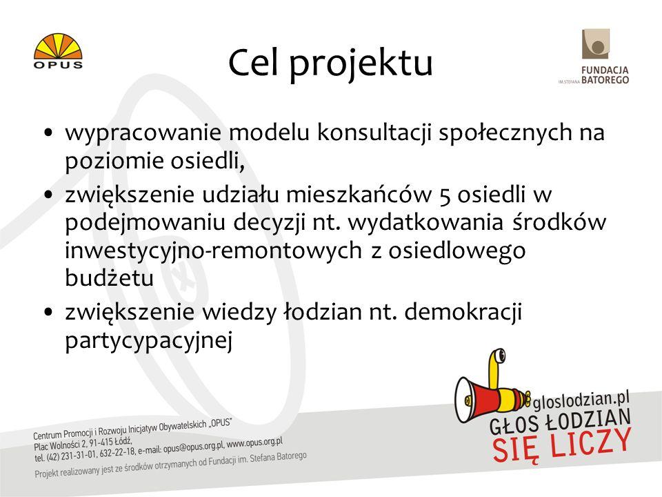 Cel projektu wypracowanie modelu konsultacji społecznych na poziomie osiedli, zwiększenie udziału mieszkańców 5 osiedli w podejmowaniu decyzji nt. wyd