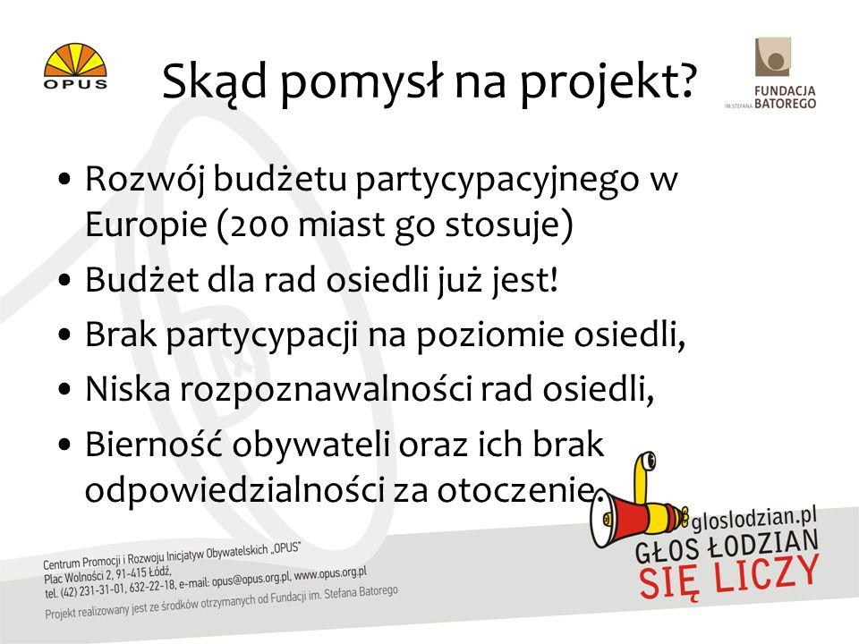 Skąd pomysł na projekt? Rozwój budżetu partycypacyjnego w Europie (200 miast go stosuje) Budżet dla rad osiedli już jest! Brak partycypacji na poziomi