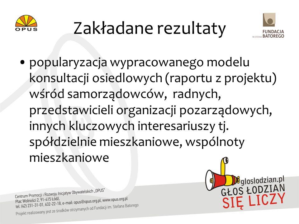 Zakładane rezultaty popularyzacja wypracowanego modelu konsultacji osiedlowych (raportu z projektu) wśród samorządowców, radnych, przedstawicieli orga