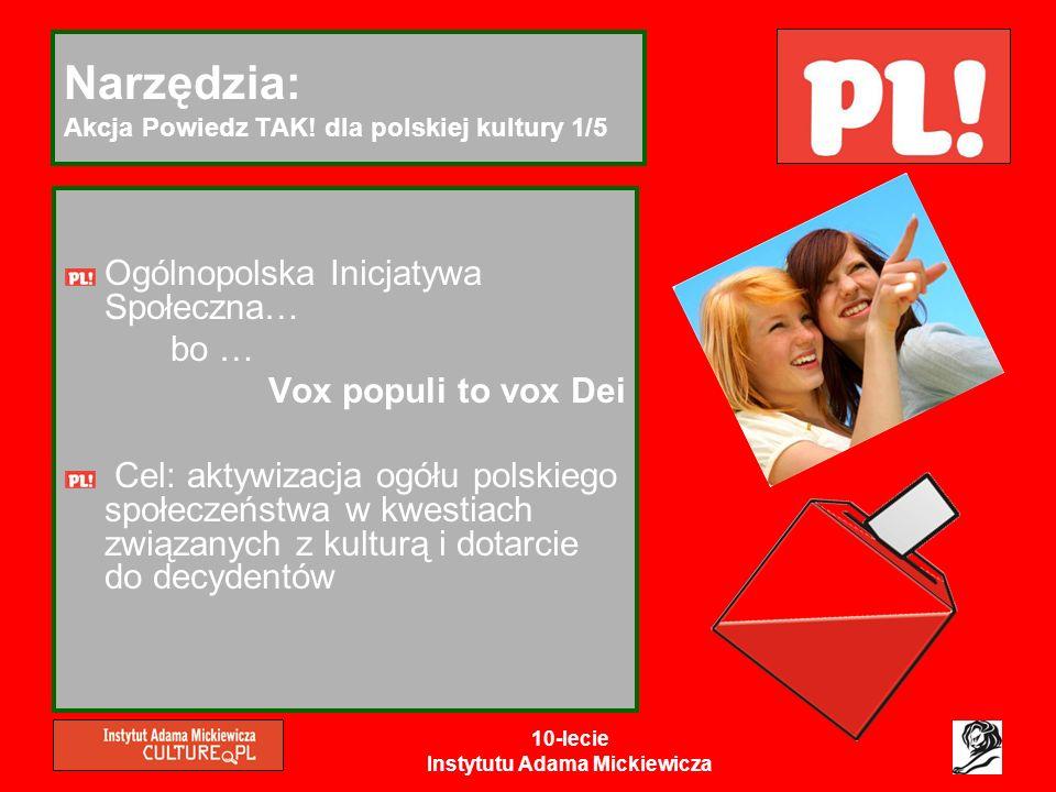 10-lecie Instytutu Adama Mickiewicza Narzędzia: Akcja Powiedz TAK! dla polskiej kultury 1/5 Ogólnopolska Inicjatywa Społeczna… bo … Vox populi to vox