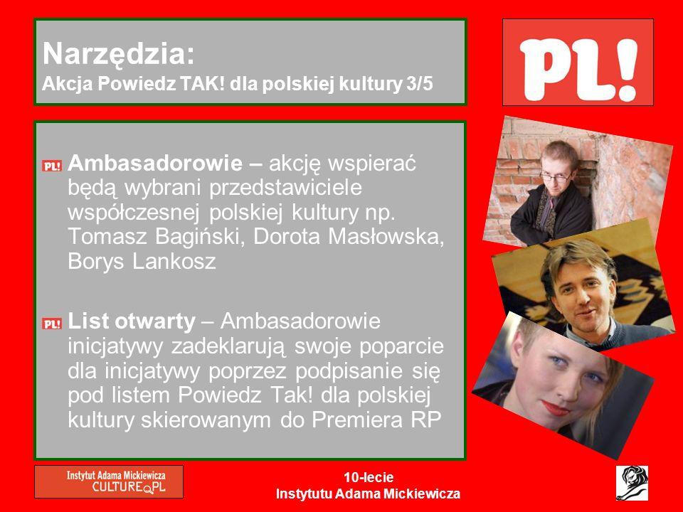 10-lecie Instytutu Adama Mickiewicza Narzędzia: Akcja Powiedz TAK! dla polskiej kultury 3/5 Ambasadorowie – akcję wspierać będą wybrani przedstawiciel