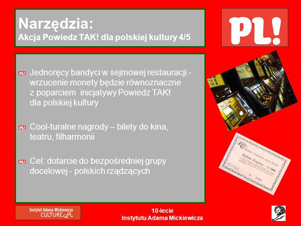 10-lecie Instytutu Adama Mickiewicza Narzędzia: Akcja Powiedz TAK! dla polskiej kultury 4/5 Jednoręcy bandyci w sejmowej restauracji - wrzucenie monet