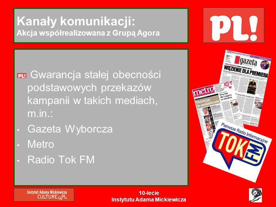 10-lecie Instytutu Adama Mickiewicza Kanały komunikacji: Akcja współrealizowana z Grupą Agora Gwarancja stałej obecności podstawowych przekazów kampan