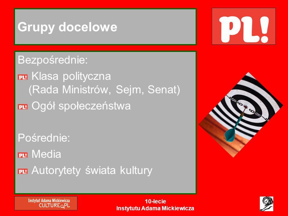 10-lecie Instytutu Adama Mickiewicza Grupy docelowe Bezpośrednie: Klasa polityczna (Rada Ministrów, Sejm, Senat) Ogół społeczeństwa Pośrednie: Media A
