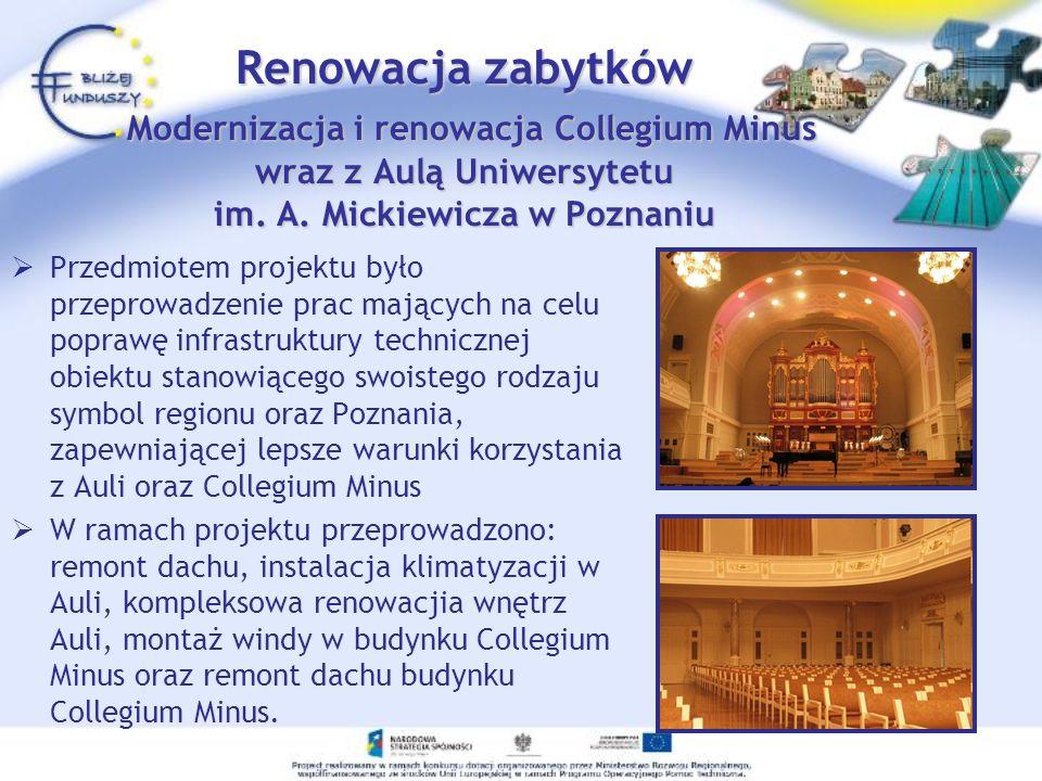 Przedmiotem projektu było przeprowadzenie prac mających na celu poprawę infrastruktury technicznej obiektu stanowiącego swoistego rodzaju symbol regio