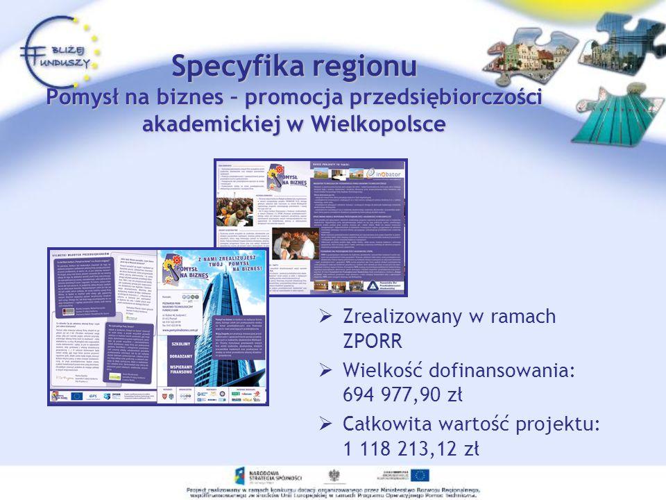 Zrealizowany w ramach ZPORR Wielkość dofinansowania: 694 977,90 zł Całkowita wartość projektu: 1 118 213,12 zł Specyfika regionu Pomysł na biznes – pr