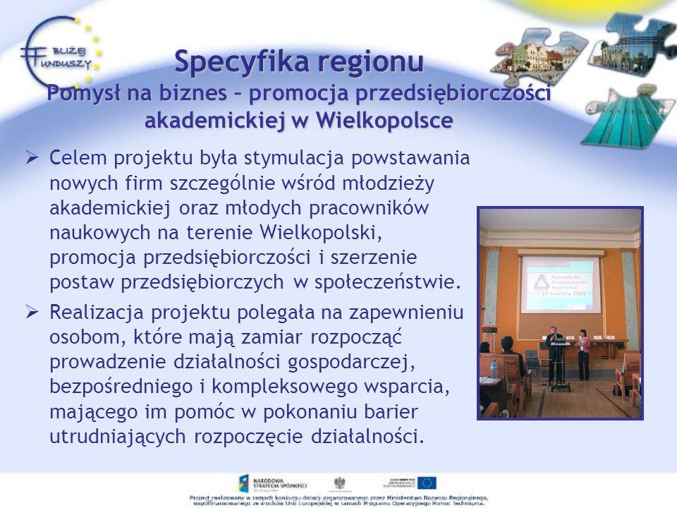 Celem projektu była stymulacja powstawania nowych firm szczególnie wśród młodzieży akademickiej oraz młodych pracowników naukowych na terenie Wielkopo