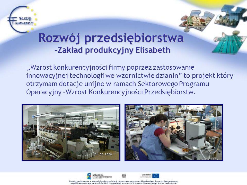 Rozwój przedsiębiorstwa -Zakład produkcyjny Elisabeth Wzrost konkurencyjności firmy poprzez zastosowanie innowacyjnej technologii we wzornictwie dzian