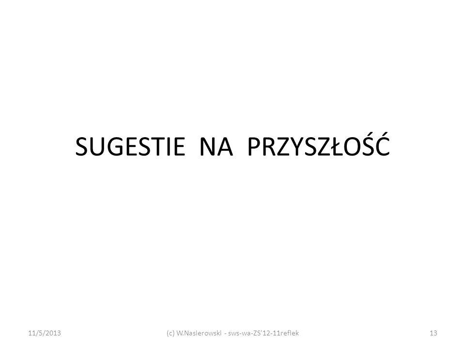 SUGESTIE NA PRZYSZŁOŚĆ 11/5/2013(c) W.Nasierowski - sws-wa-ZS'12-11reflek13