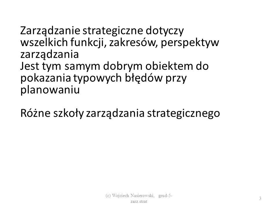 Zarządzanie strategiczne dotyczy wszelkich funkcji, zakresów, perspektyw zarządzania Jest tym samym dobrym obiektem do pokazania typowych błędów przy