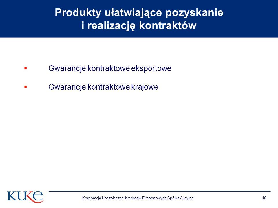 Korporacja Ubezpieczeń Kredytów Eksportowych Spółka Akcyjna10 Produkty ułatwiające pozyskanie i realizację kontraktów Gwarancje kontraktowe eksportowe Gwarancje kontraktowe krajowe