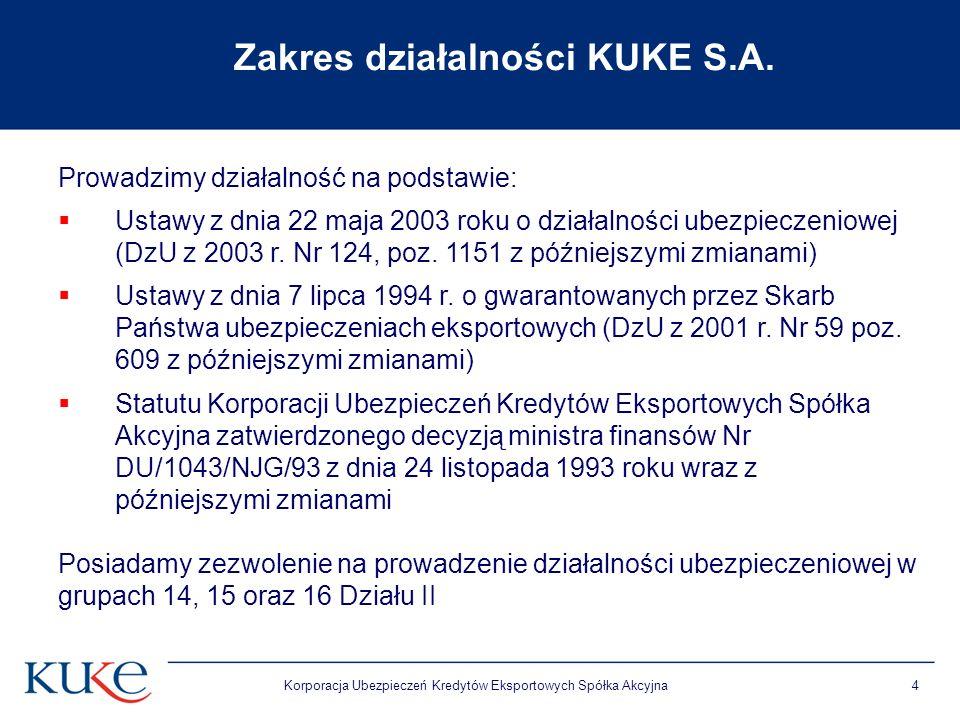 Korporacja Ubezpieczeń Kredytów Eksportowych Spółka Akcyjna4 Zakres działalności KUKE S.A. Prowadzimy działalność na podstawie: Ustawy z dnia 22 maja