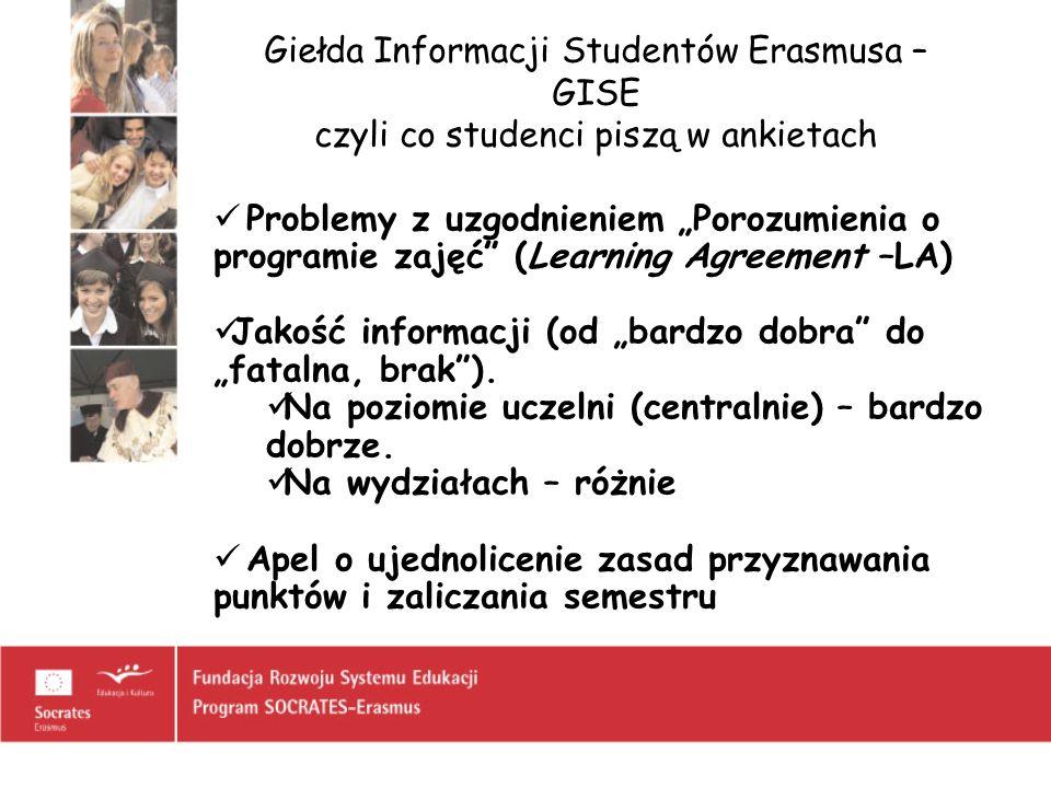 Giełda Informacji Studentów Erasmusa – GISE czyli co studenci piszą w ankietach Problemy z uzgodnieniem Porozumienia o programie zajęć (Learning Agree