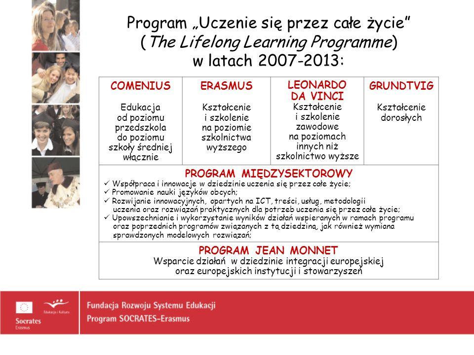 Program Uczenie się przez całe życie (The Lifelong Learning Programme) w latach 2007-2013: COMENIUS Edukacja od poziomu przedszkola do poziomu szkoły