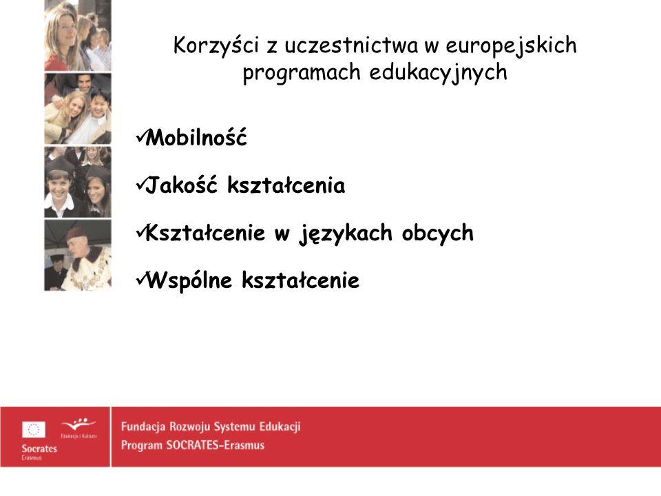 Korzyści z uczestnictwa w europejskich programach edukacyjnych Mobilność Jakość kształcenia Kształcenie w językach obcych Wspólne kształcenie