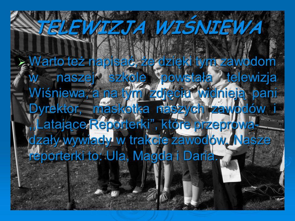 TELEWIZJA WIŚNIEWA Warto też napisać, że dzięki tym zawodom w naszej szkole powstała telewizja Wiśniewa, a na tym zdjęciu widnieją pani Dyrektor, mask