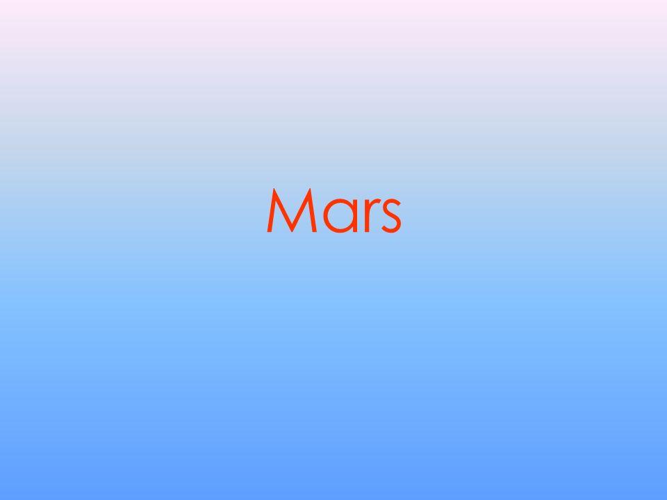 Ogólne MARS Klasyfikacja: Planeta (skalista) Średnica równikowa: 6.787 km Średnica południkowa: 6.746 km Okres obrotu: 24,62 h Okres obiegu: 686,98 dni Masa (Ziemia=1): 0,107 Gęstość (woda=1): 3,92 Przyśpieszenie spadania: 3,7 m/s2 Szybkość ucieczki: 5,01 km/s Nachylenie osi: 23,98° Temperatura max: +27°C Temperatura min.: -126°C Albedo (100% refl.=1): 0.15 Księżyce: 2 Pierścienie: 0 Ziemia (dla porównania) Klasyfikacja: Planeta (skalista) Średnica równikowa: 12.756 km Średnica południkowa 12.714 km Okres obrotu: 23,94 h Okres obiegu: 365,26 dni Masa (Ziemia=1) 1 Gęstość (woda=1) 5,52 Przyśpieszenie spadania: 9,8 m/s2 Szybkość ucieczki: 11,2 km/s Nachylenie osi: 23,4° Temperatura max: +58°C Temperatura min.: -88,3°C Albedo (100% refl.=1): 0.37 Księżyce: 1 Pierścienie: 0 Średnia prędkość obiegu: 107.250 km/h