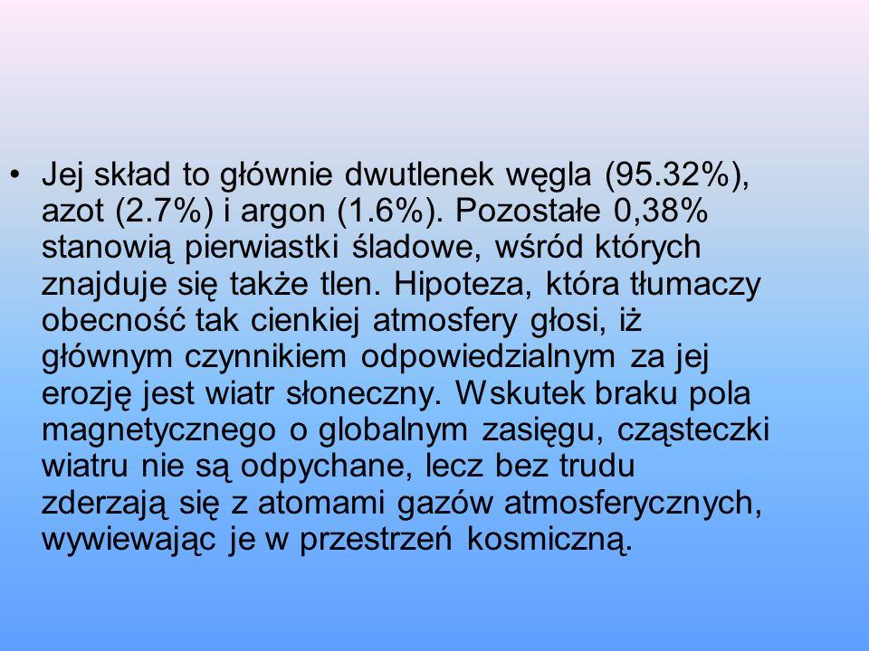 Jej skład to głównie dwutlenek węgla (95.32%), azot (2.7%) i argon (1.6%). Pozostałe 0,38% stanowią pierwiastki śladowe, wśród których znajduje się ta