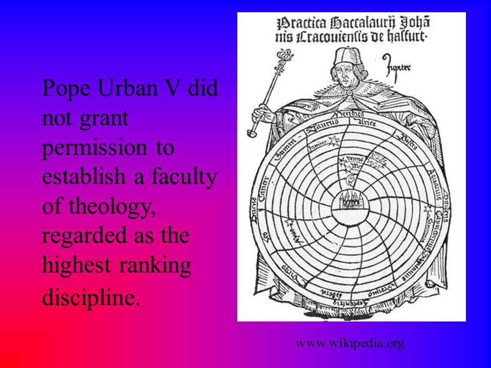 Pope Urban V did not grant permission to establish a faculty of theology, regarded as the highest ranking discipline.