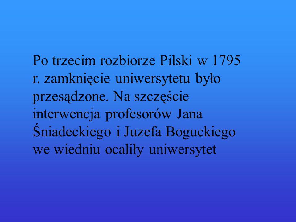 Po trzecim rozbiorze Pilski w 1795 r.zamknięcie uniwersytetu było przesądzone.