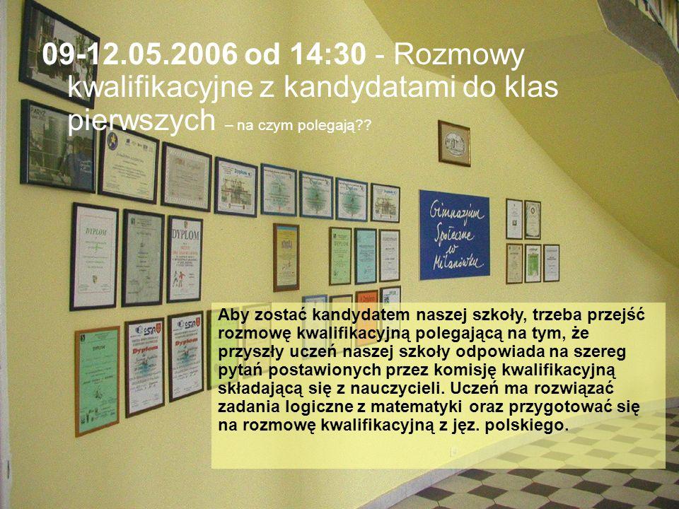 09-12.05.2006 od 14:30 - Rozmowy kwalifikacyjne z kandydatami do klas pierwszych – na czym polegają .