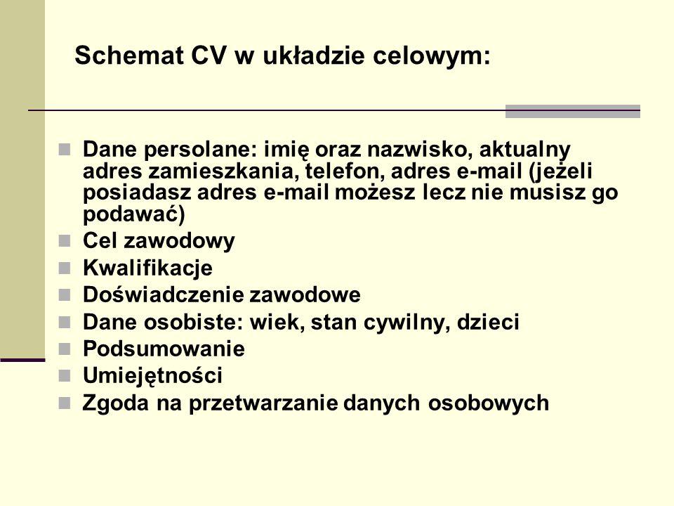 Schemat CV w układzie celowym: Dane persolane: imię oraz nazwisko, aktualny adres zamieszkania, telefon, adres e-mail (jeżeli posiadasz adres e-mail m