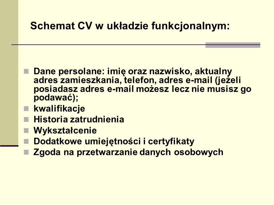 Schemat CV w układzie funkcjonalnym: Dane persolane: imię oraz nazwisko, aktualny adres zamieszkania, telefon, adres e-mail (jeżeli posiadasz adres e-