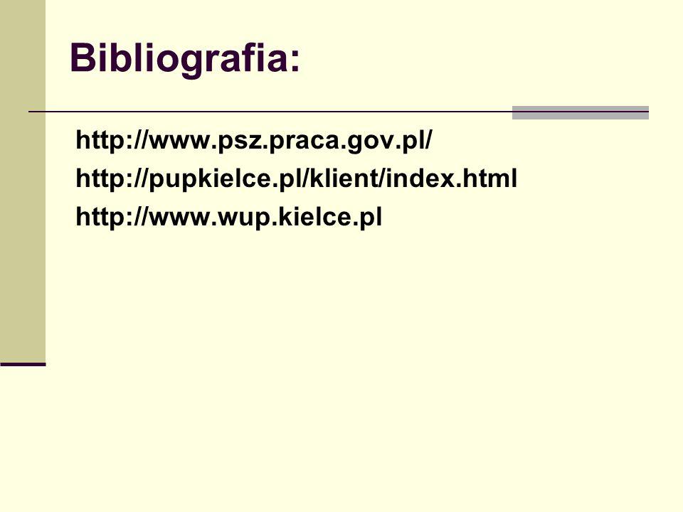 Bibliografia: http://www.psz.praca.gov.pl/ http://pupkielce.pl/klient/index.html http://www.wup.kielce.pl