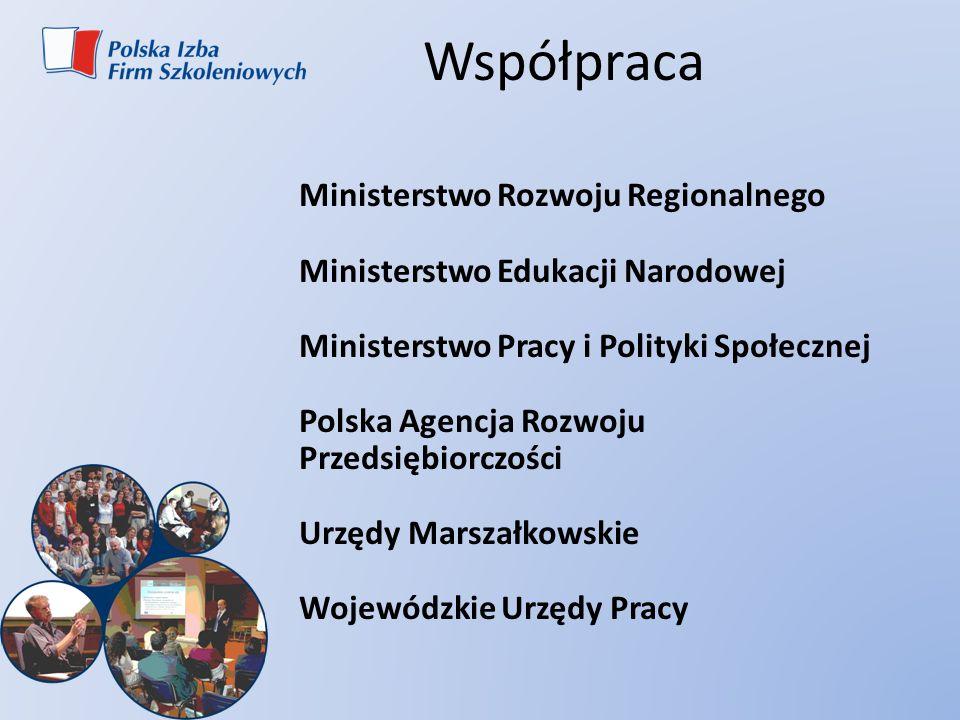 Współpraca Ministerstwo Rozwoju Regionalnego Ministerstwo Edukacji Narodowej Ministerstwo Pracy i Polityki Społecznej Polska Agencja Rozwoju Przedsięb