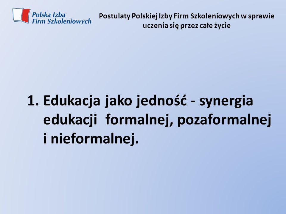 Postulaty Polskiej Izby Firm Szkoleniowych w sprawie uczenia się przez całe życie 1.Edukacja jako jedność - synergia edukacji formalnej, pozaformalnej
