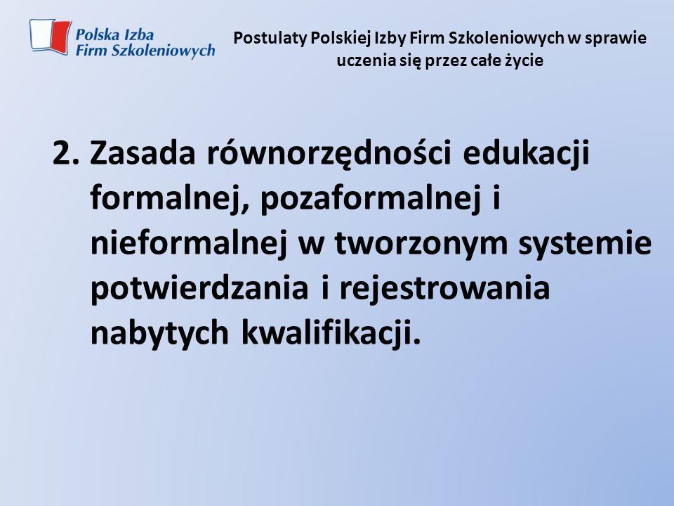 Postulaty Polskiej Izby Firm Szkoleniowych w sprawie uczenia się przez całe życie 2.Zasada równorzędności edukacji formalnej, pozaformalnej i nieforma