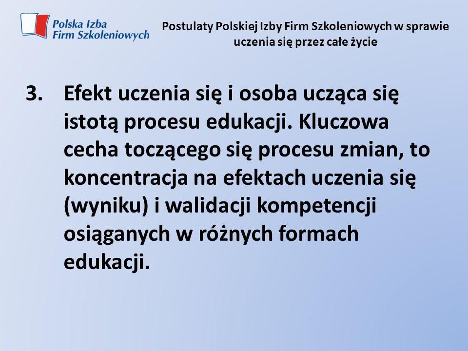 Postulaty Polskiej Izby Firm Szkoleniowych w sprawie uczenia się przez całe życie 3.Efekt uczenia się i osoba ucząca się istotą procesu edukacji. Kluc