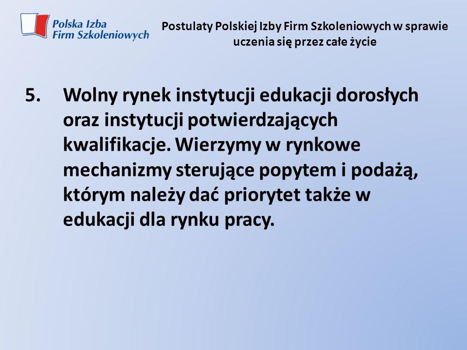 Postulaty Polskiej Izby Firm Szkoleniowych w sprawie uczenia się przez całe życie 5.Wolny rynek instytucji edukacji dorosłych oraz instytucji potwierd