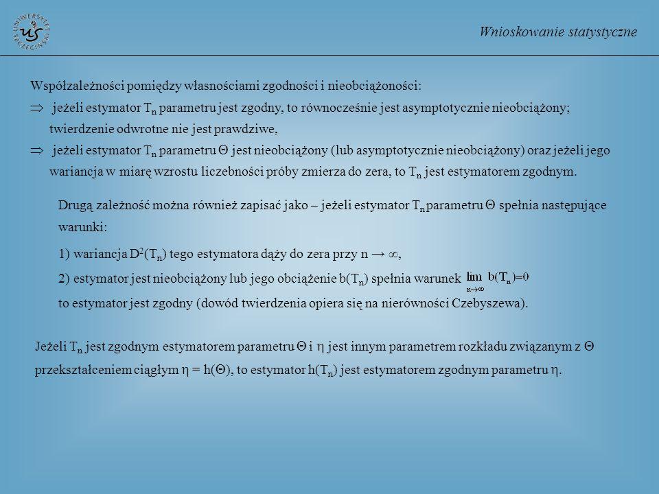 Wnioskowanie statystyczne Drugą zależność można również zapisać jako – jeżeli estymator T n parametru spełnia następujące warunki: 1) wariancja D 2 (T