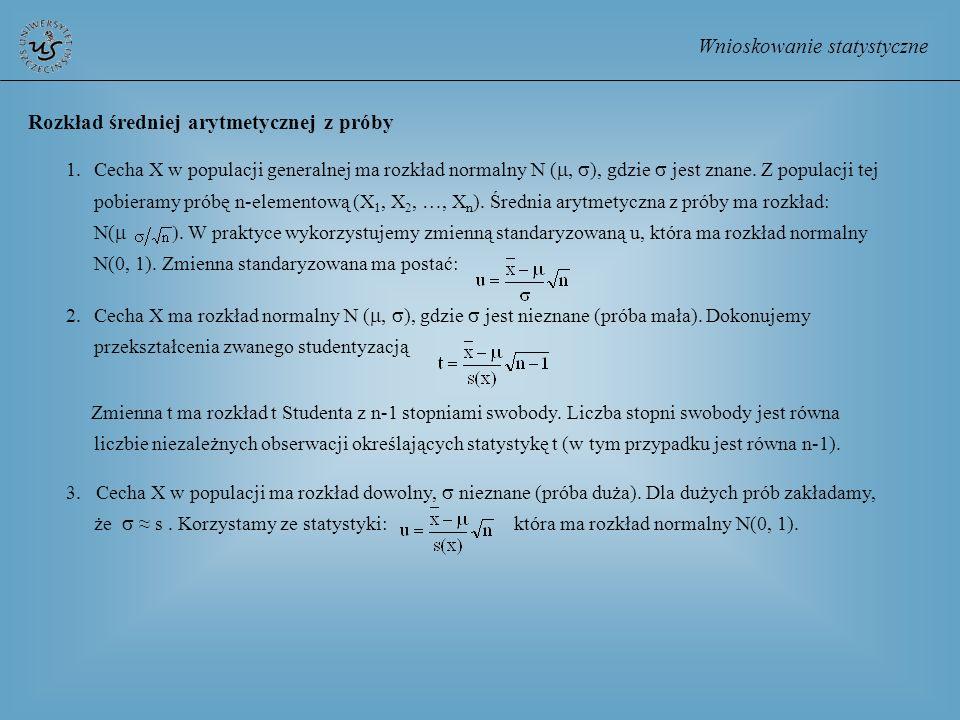 Wnioskowanie statystyczne Rozkład średniej arytmetycznej z próby 1.Cecha X w populacji generalnej ma rozkład normalny N ( ), gdzie jest znane. Z popul